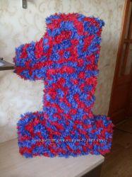 Единичка на день рождения ребенка, красно-синяя