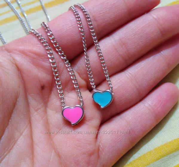 Кулон сердце с цепочкой 3 цвета