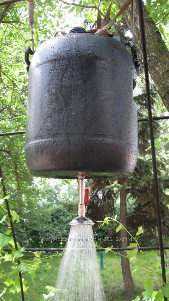 Бочка-бак пластик 220л. для летнего душа в сборе со сливным патрубком