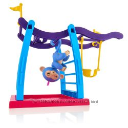 WowWee Fingerlings Интерактивная ручная обезьянка с площадкой Liv the Baby