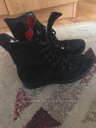 замшевые утепленные ботинки на зиму