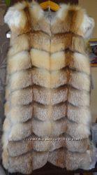 Меховой жилет из лисы елочка
