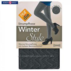 Теплые зимние колготки цвет черный, синий  Nur Die размер 1-2, 3