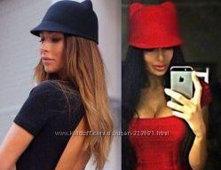 Жокейка шапка с ушками черная в наличии