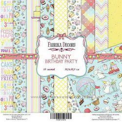 Набор односторонней бумаги Bunny Birthday Party, 30, 5х30, 5 см, 10 листов