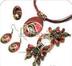 Комплект украшений серьги кулон кольцо