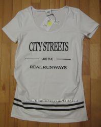 новая фирменная футболка беременным за треть цены размер L белая хлопок