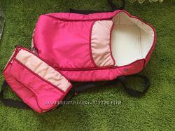 Люлька-переноска с сумкой, розовая