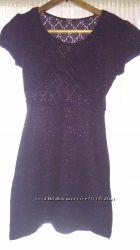 Платье-туника сиреневая с блестящими нитками