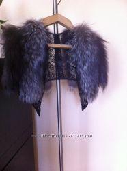 Кожаное пальто куртка кардиган. Мех чернобурка