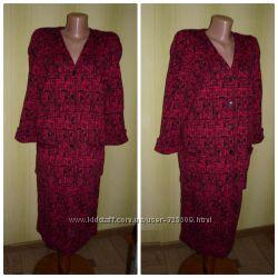 Красивый теплый трикотажный костюм Беларусь юбка и кардиган р. 48-50-52