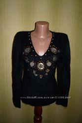 Красивый черный теплый свитер р. 4446, кофта