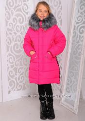 Новинка Удлиненная зимняя куртка для девочки на 3 цвета на синтепоне