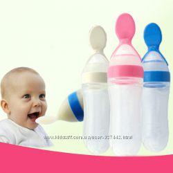Детская силиконовая бутылочка с ложечкой  для введения прикорма