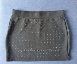 Мини юбка со стразами S-XS размер трикотаж
