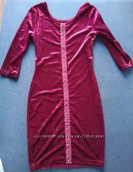 Бархатное мини-платье Forever 21, рр S-XS обтягивающее