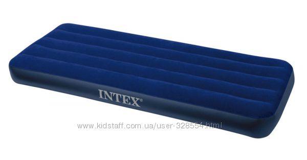 Одноместный велюровый надувной матрас Intex, велюровый матрац