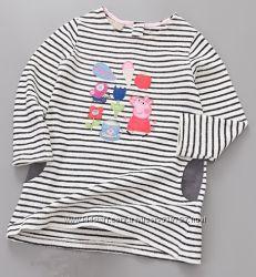 Трикотажное платье в полоску с карманами и аппликацией PEPPA PIG