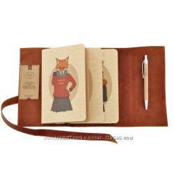 Блокноты в кожаной обложке, софтбуки с дизайнерской бумагой