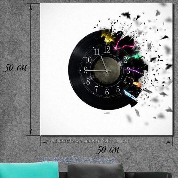 Часы настенные на холсте 50х50 см  - 10 дизайнов