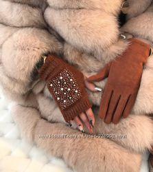 Перчатки-митенки 2в1