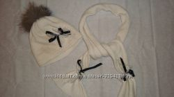 Зимняя шапка и шарф, р. 50-52