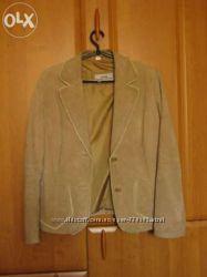 Кожаный кожа наппа под замш бежевый пиджак