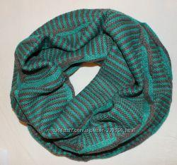вязаный шарф снуд в полоску