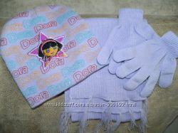 Комплектик шапочка, шарфик, перчатки с Дашей, 2-3 год.