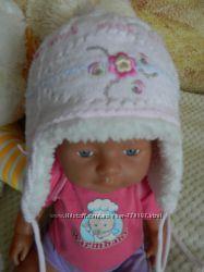 Зимняя шапочка для девочки, 3-6-9 мес.