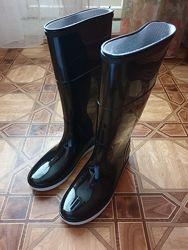 Сапоги резиновые женские Demar, 36 размер, высокие чёрные, б/у