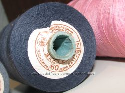 Нитки швейные хб хлопок 60 Длина 2500 м Темно-синие в 3 сложения