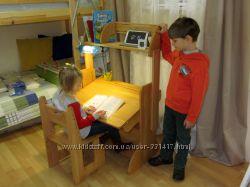 Комплект парта дитяча ДомовичОК шириною 70 см з полицею та стільцем