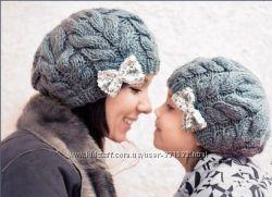 Изумительные шапочки для мамы и дочки.