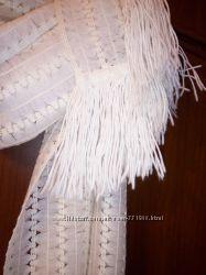 Ажурный молочный шарф, палантин