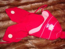 Шапочка зимняя с шарфиком на флисе 3-6 мес. , размер 39