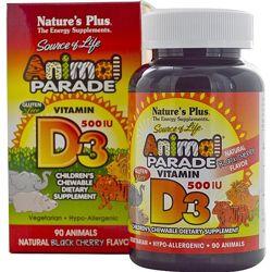 Детский витамин D3, 500 МЕ, Animal Parade, 90 таблеток