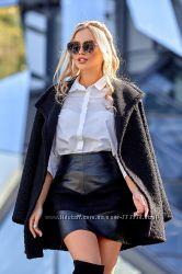 Ультра модная трендовая юбка из эко-кожи а-силуэта