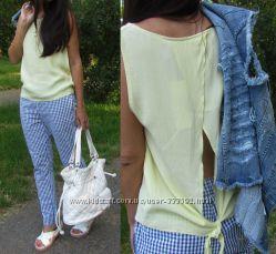 Женские коттоновые брюки в мелкую бело-синюю клетку, Италия, скидка