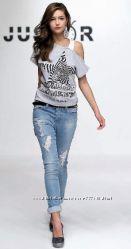 Стильная женская футболка-топ Just R, Италия, Скидка