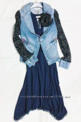 Жакет из денима с шерстяными рукавами, необычайно стильная модель, Италия