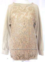 Эффектный удлиненный женский свитшот с декором-кружевом, Италия, Скидка
