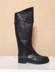 Женские высокие сапоги из гладкой черной кожи, Spaziomoda, Италия, Скидка