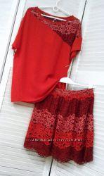 Женский костюм с юбкой из кружева, Италия, скидка