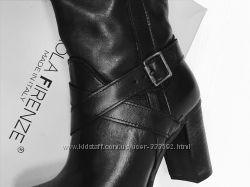 Женские кожаные высокие сапоги на устойчивом каблуке, Италия, скидка