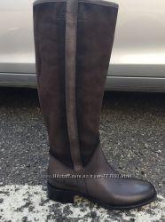 Шикарные женские кожаные высокие сапоги на низком ходу, Италия, скидка