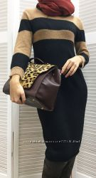Теплое трикотажное платье свитер, длиной по колено, Италия, скидка