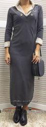 Трикотажное платье миди с длинным рукавом, Италия, скидка