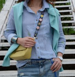 Ремень для сумки украшенный объемными кожаными цветами, Vera Pelle, Италия