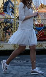Милое трикотажное платье с юбкой из мягкого фатина, Италия, скидка